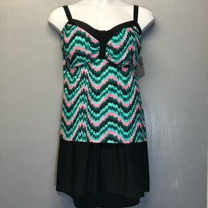 Sz 30W Catherine's 1 Pc Multi Color Swimsuit NEW!